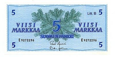 "Finland ... P-106A ... 5 Markkaa ... 1963 ... *Ch AU+* ... Prefix ""E"""