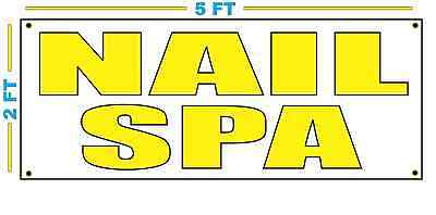 Nail Spa In Yellow Banner Sign New Size