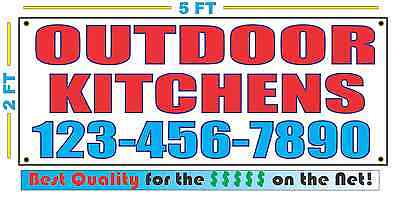 OUTDOOR KITCHENS w CUSTOM PHONE Banner Sign Larger Size Best Quality for The