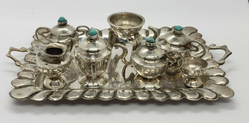Vintage Miniature Sterling Silver Tea Set for Doll House Turquoise fondue tea