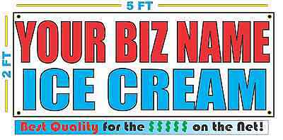 Custom Name Ice Cream Banner Sign New Larger Size Best Quality For The