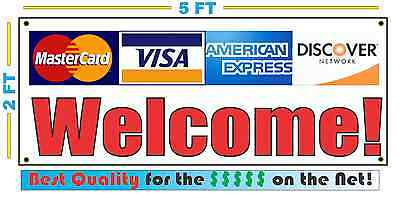 Credit Cards Welcome Banner Sign For Visa Amex Discover Master Card