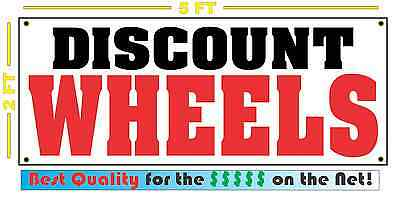 - DISCOUNT WHEELS Banner Sign NEW 4 Car Truck SUV Van Repair Tire Shop RIMS