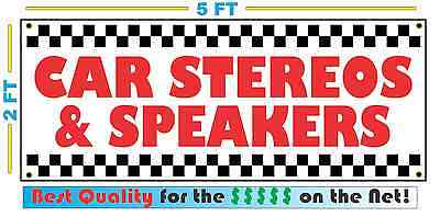 CAR STEREO & SPEAKERS Banner Sign NEW Larger Size Best Price for The $$$$$