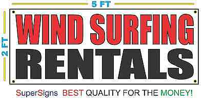 Wind Surfing Rentals Banner Sign New Red Black