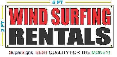 Wind Surfing Rentals Banner Sign New Red Black