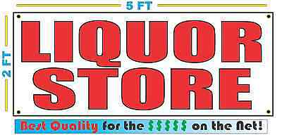 Red LIQUOR STORE 2X5 Banner Sign NEW Size Best Quality for The (Best Storage For Vinyl)