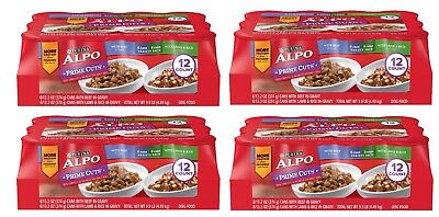Purina ALPO Prime Cuts Adult Wet Dog Food Variety Pack 48 count 13oz cans w/bowl