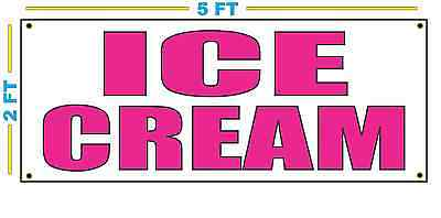 Ice Cream In Hot Pink Banner Sign New Size For Stand Truck Or Parlor