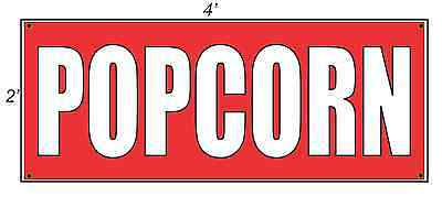 2x4 Popcorn Red With White Copy Banner Sign New