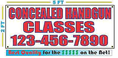 CONCEALED HANDGUN CLASSES w CUSTOM PHONE Banner Sign NEW Best Quality for the