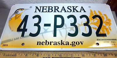Nebraska Metal License Plate, Bird and flowers, 2011 issue, 43 P332, w hologram