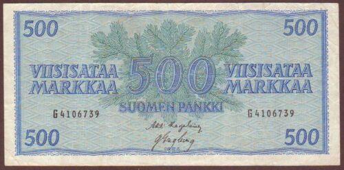 FINLAND  500 Markkaa  1956