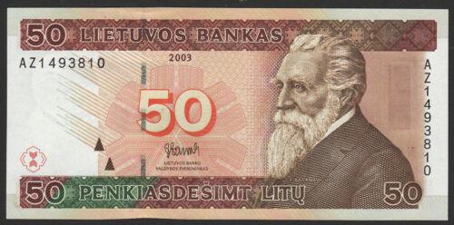 Lithuania 50 Litu 2003 UNC Replacement AZ prefix RARE !