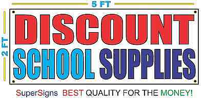 2x5 DISCOUNT SCHOOL SUPPLIES Banner Sign for Dollar Store Bodega Shop Grocery