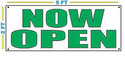 Now Open In Green Banner Sign New Size