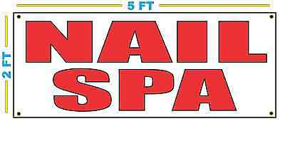 Nail Spa In Red Banner Sign New Size