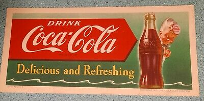 1951 Vintage COCA COLA COKE Ink Blotter & 4 bottle cardboard serving tray