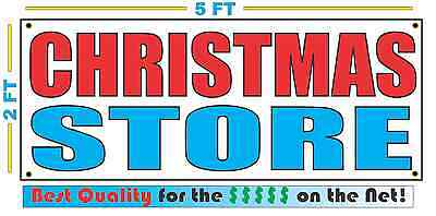 CHRISTMAS STORE Full Color Banner Sign NEW Larger Size Best Quality for the (Best Storage For Vinyl)