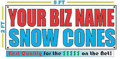 Custom Name Snow Cones Banner Sign 2x5 New 4 Stands Carnivals Fair Pool Party