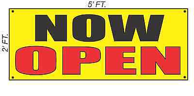 Now Open Banner Sign Yellow With Red Black