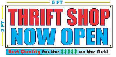 Thrift Shop Now Open Banner Sign New 2x5