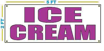 Ice Cream In Purple Banner Sign New Size For Stand Truck Or Parlor