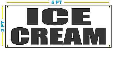 Ice Cream In Black Banner Sign New Size For Stand Truck Or Parlor