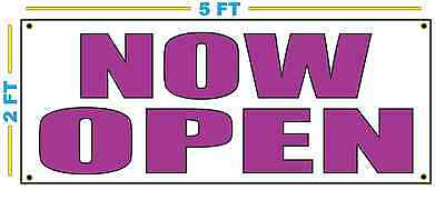 Now Open In Purple Banner Sign New Size
