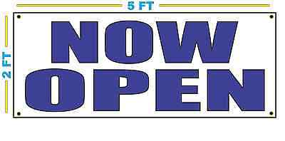 Now Open In Blue Banner Sign New Size
