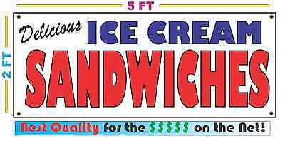 Full Color ICE CREAM SANDWICHES BANNER Sign NEW Size Best Quality for the (Best Ice Cream Sandwich)