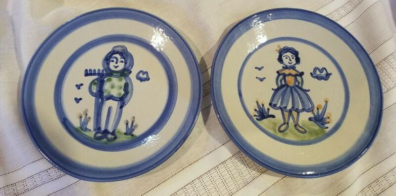 """HADLEY POTTERY 2- #397 8"""" SALAD Plates - Country Farmer & Wife Patterns -NEW!!!"""