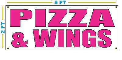 - PIZZA & WINGS in HOT PINK Banner Sign NEW Size