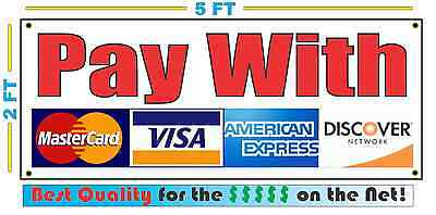 Pay With Credit Cards Banner Sign For Visa Amex Discover Master Card