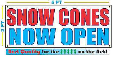 Snow Cones Now Open Banner Sign New 2x5