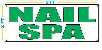 Nail Spa In Green Banner Sign New Size