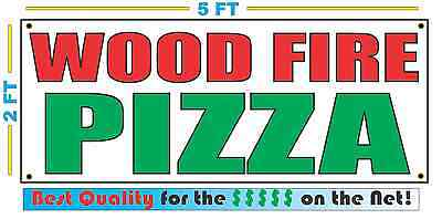 Wood Fire Pizza Banner Sign New