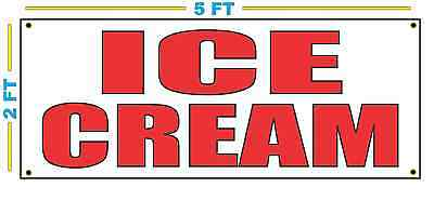 Ice Cream In Red Banner Sign New Size For Stand Truck Or Parlor
