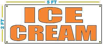 Ice Cream In Orange Banner Sign New Size For Stand Truck Or Parlor