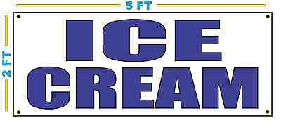 Ice Cream In Blue Banner Sign New Size For Stand Truck Or Parlor