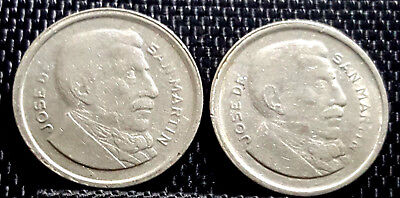 1955 Argentina 50 Centavos coin , 2pcs XF Dia23mm (plus FREE 1 coin) #D2551