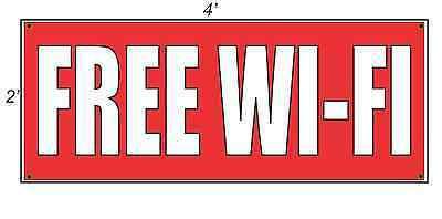 2x4 Free Wi-fi Red With White Copy Banner Sign New