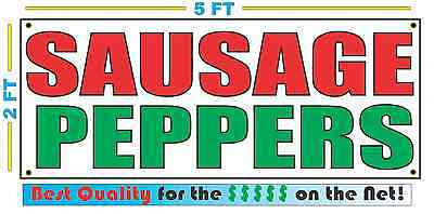 SAUSAGE PEPPERS Banner Sign NEW Larger Size Best Quality for The $$$ Fair Food
