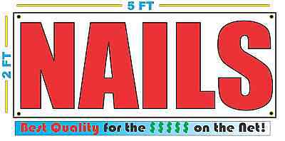Nails Banner Sign New Larger Size Best Quality For The Red White