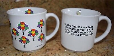 Lot of 2 Recycled Paper Coffee Mugs Cups Birthday Hippo Birdie Two Ewes Balloons