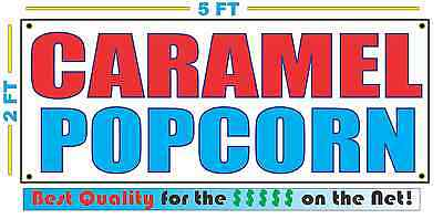 Caramel Popcorn Banner Sign New Larger Size Best Quality For The