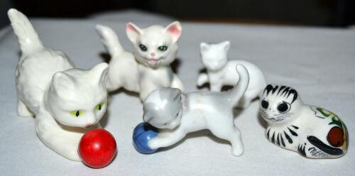 6 VINTAGE PORCELAIN PLAYFUL CAT, KITTEN FIGURINE LOT, GOEBEL, GERMANY