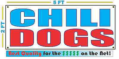 Chili Dogs Banner Sign New Larger Size Best Quality For The Fair Food