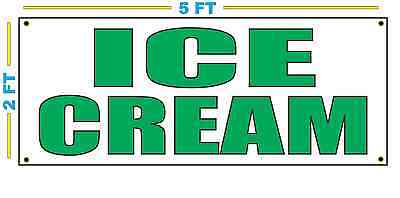 Ice Cream In Green Banner Sign New Size For Stand Truck Or Parlor