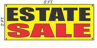 Estate Sale Banner Sign Yellow With Red Black